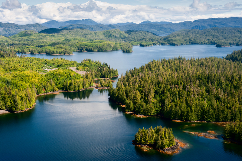 ARIAL VIEW OF PRINCE OF WALES ISLAND, PART OF THE ALEXANDER ARCHIPELAGO, A MOSAIC OF ISLANDS THAT FORMS ALASKA'S INSIDE PASSAGE AND HOME TO THE ALEXANDER ARCHIPELAGO WOLF. IMAGE: ©IZANBAR⎮DREAMSTIME.COM