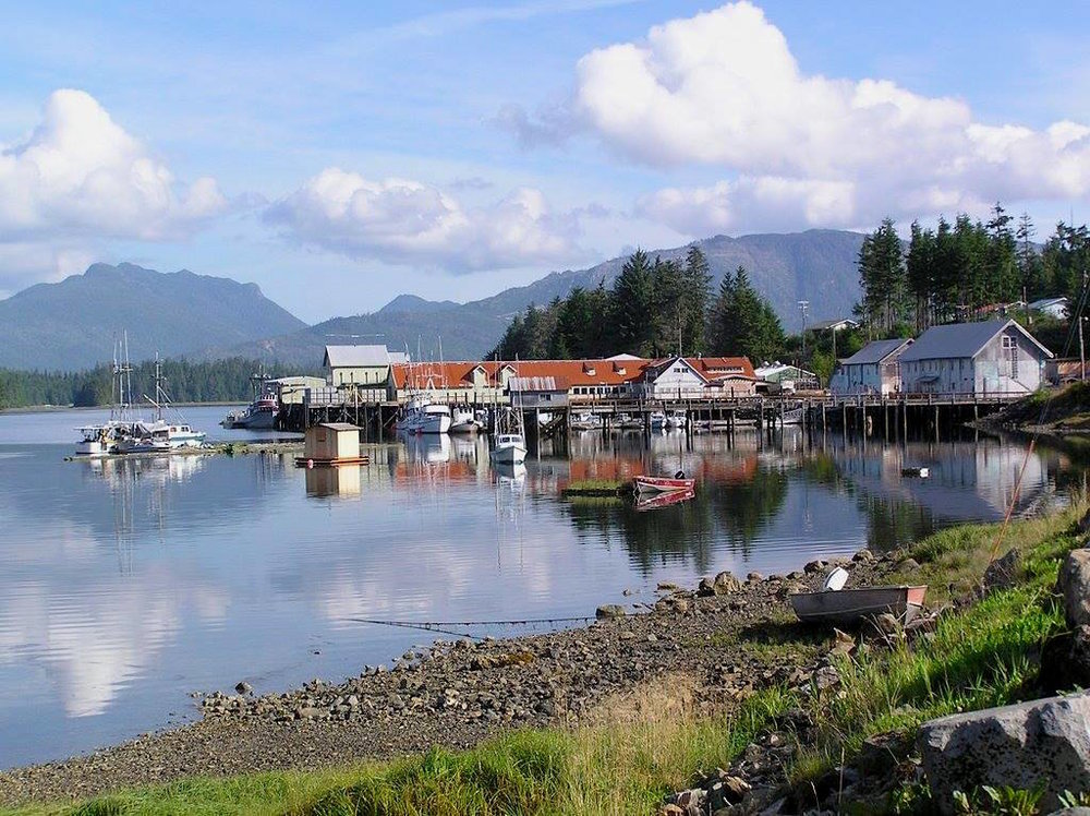 "KLAWOCK IS ACTUALLY ANOTHER SMALL ISLAND ACCESSIBLE BY ROAD BRIDGE FROM THE PRINCE OF WALES 'MAIN LAND"" THE OLD FISH CANNERY LOOKS OUT OVER THE BAY AND SOME BREATH-TAKING MOUNTAIN SCENERY. IMAGE: KLAWOCK COMMUNITY FACEBOOK PAGE."
