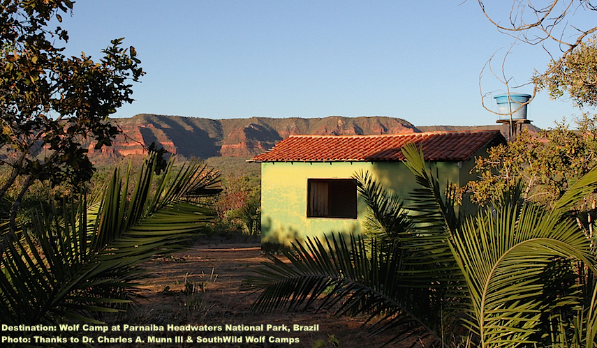 "ECO-FRIENDLY SOUTHWILD WOLF CAMPS KEEP A SMALL FOOTPRINT BUT ARE SURPRISINGLY COMFORTABLE. BONUS! UNLIKE ITS AMAZON NEIGHBOR, THE CERRADO IS DRY, WITH FEW IF ANY MOSQUITOS OR OTHER PESTS, HOWEVER, WILDLIFE LIKE MANED WOLVES & MACAWS ARE ""REGULARS"".  IMAGE: THANKS TO ©CHARLES A. MUNN AND SOUTHWILD, BRAZIL."