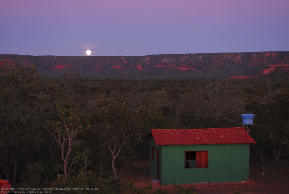 MOON RISE AT PEACEFUL WOLF CLIFF CAMPS. IMAGE: ©DR. CHARLES A.MUNN AND SOUTHWILD, BRAZIL.