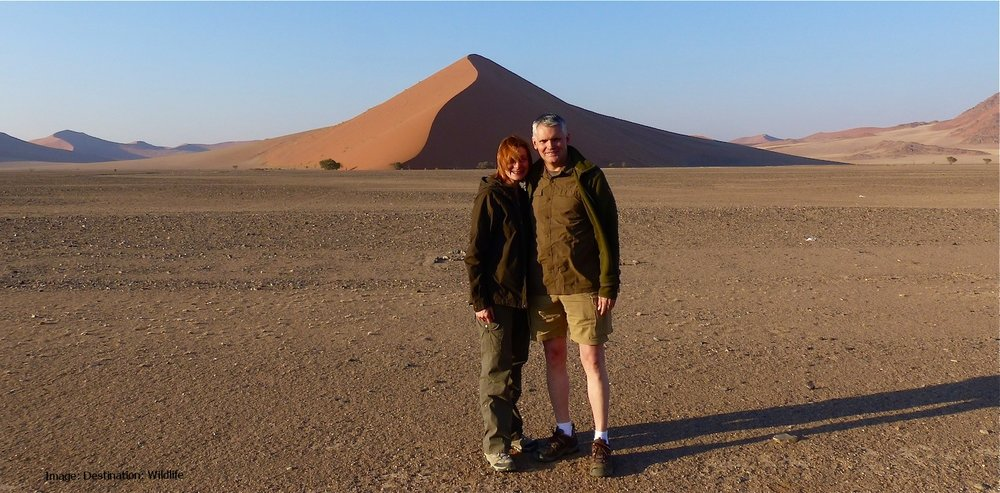 At the entrance to Sossusvlei, Les & I enjoying the desert's early morning chill. Image: ©Destination: WIldlife