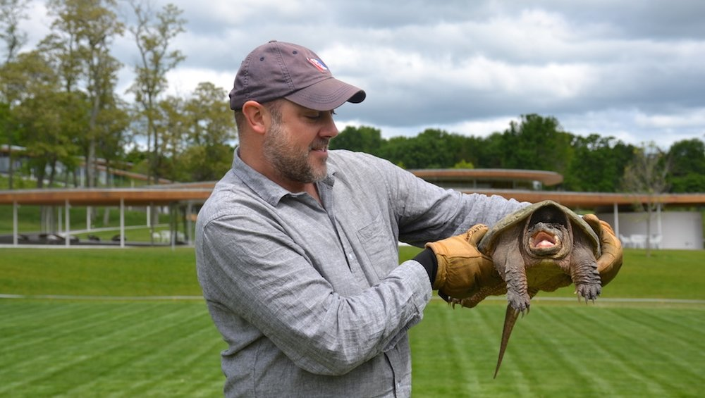 NATURE EDUCATIONAL PROGRAMS ARE PART OF THE FUN AT GRACE FARMS, NEW CANAAN, CT. HERE MARK FOWER, NATURE INITIATIVE DIRECTOR, EXPLAINS THE WAYS OF A TURTLE. IMAGE: THANKS TO THE GRACE FARMS FOUNDATION.
