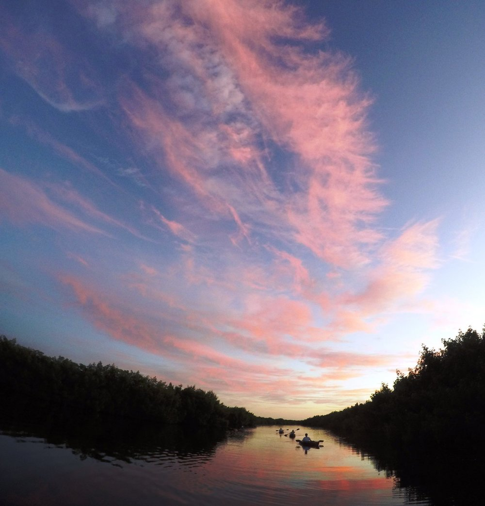 VISITORS ENJOY A BLISSFUL SUNSET KAYAK TOUR IN THE WESTERN EVERGLADES. THEIR LOCAL GUIDE COMPANY WORKS TO PROTECT THE BALANCE OF BOTH THE COMMUNITY AND ECOLOGY'S WELL BEING. THAT'S RESPONSIBLE TOURISM. IMAGE: TOD DAHLKE, TOUR THE GLADES.