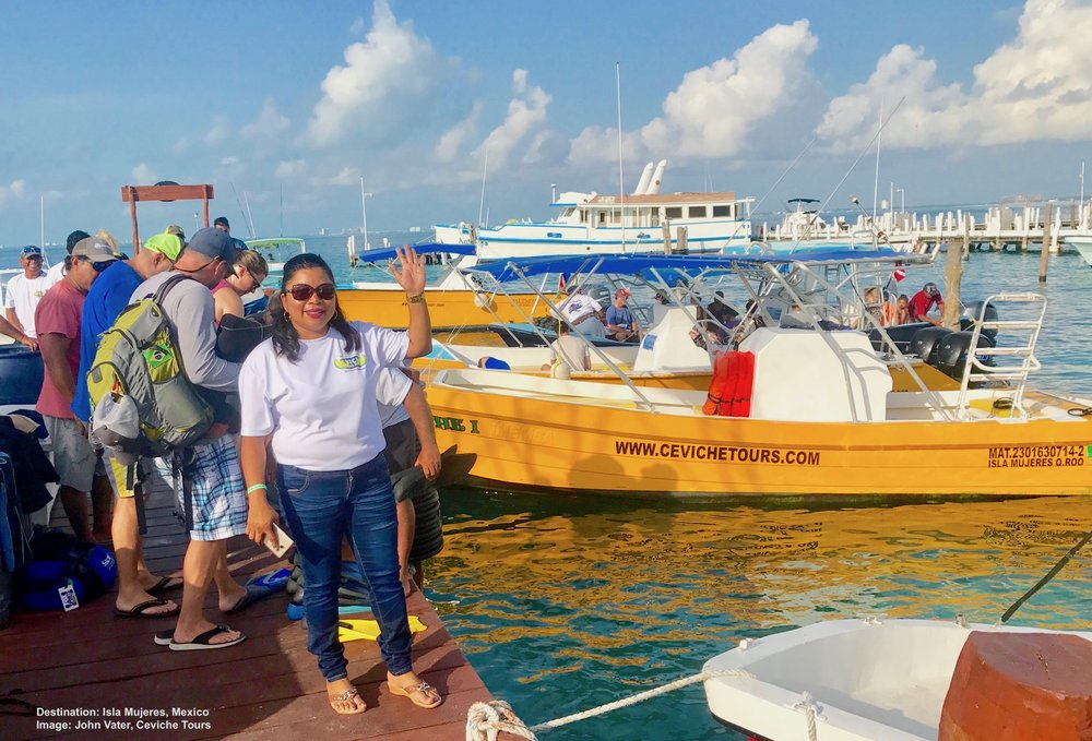 ANNA AGUIRRE WELCOMES GUESTS ABOARD FOR A FABULOUS (AND RESPONSIBLE) WHALE SHARK ADVENTURE AT ISLA MUJERES, MEXICO. IMAGE: JOHN VATER AND CIVICHE TOURS