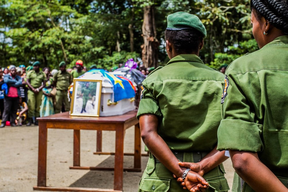 FUNERAL OF RANGER RACHAEL MASIKA BARAKA, 25. KILLEDON MAY 5 2018. SHE WAS ONE OF 170 KILLED DEFENDING THE PARK. ,ITS VISITORS, AND IT'S MOUNTAIN GORILLAS, ELEPHANTS, AND OTHER WILDLIFE AND NATURE FROM POACHERS IN THE LAST TWO YEARS. IMAGE: VIRUNGA FACEBOOK PAGE