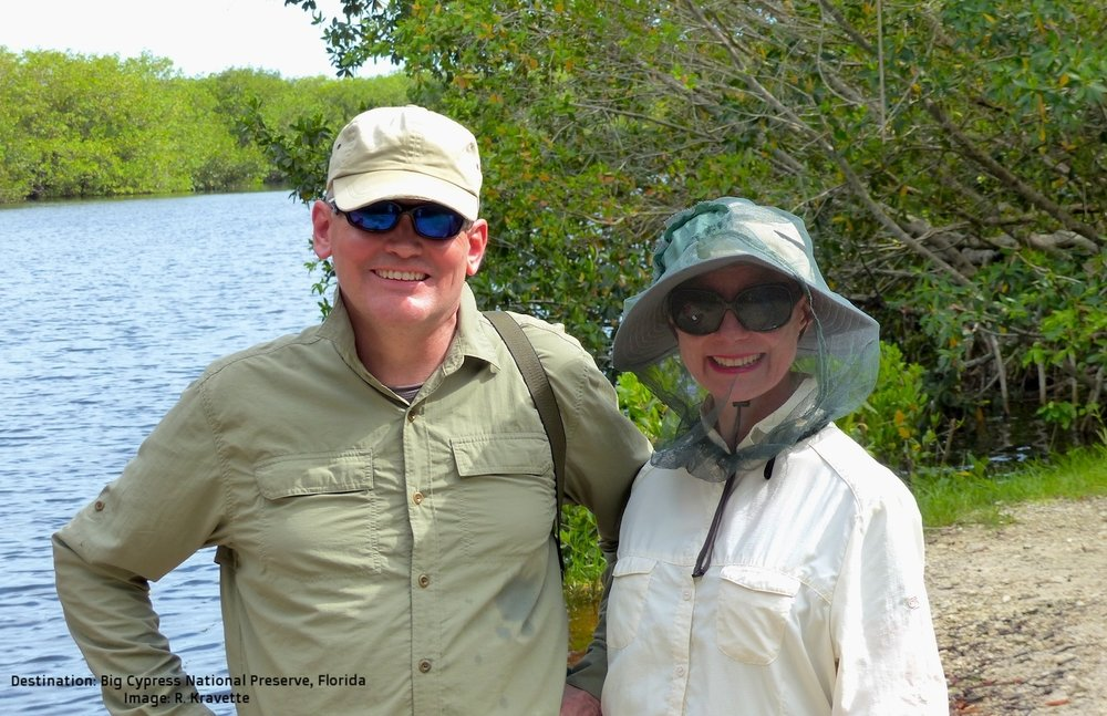 LES AND I IN THE WESTERN EVERGLADES. IT IS TIME TO PUT ALL OUR EFFORTS INTO HELPING THE WORLD: RESPONSIBLE TOURISM IS OUR TOOL.