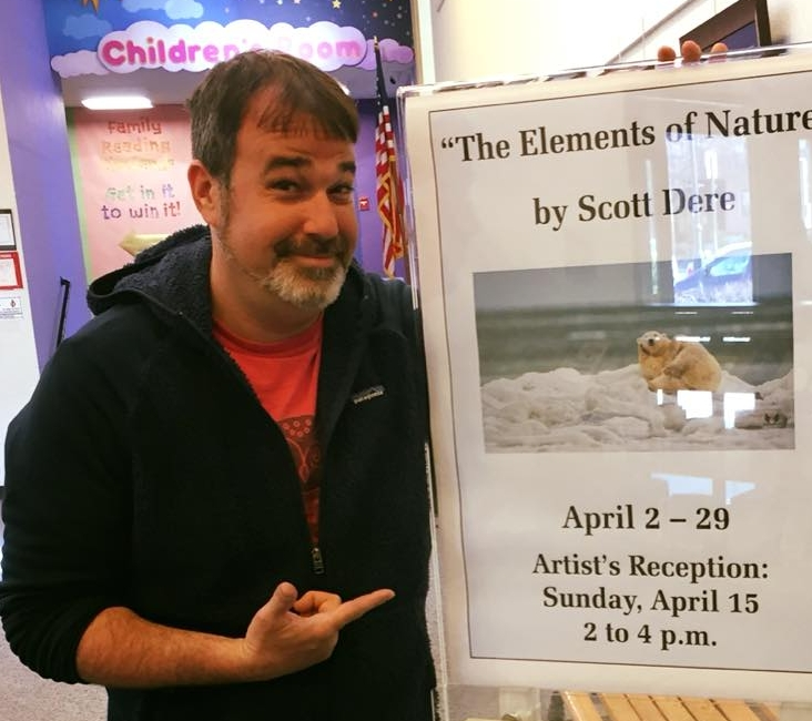 SCOTT DERE, FOUNER OF ELEMENTS OF NATURE AT AN EXHIBIT OF HIS WORK THIS PAST SPRING.