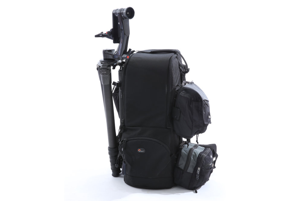 SCOTT'S CAMERA BAG WITH HIS TRIPOD AND GIMBALL ATTACHED. IMAGE: SCOTT DERE