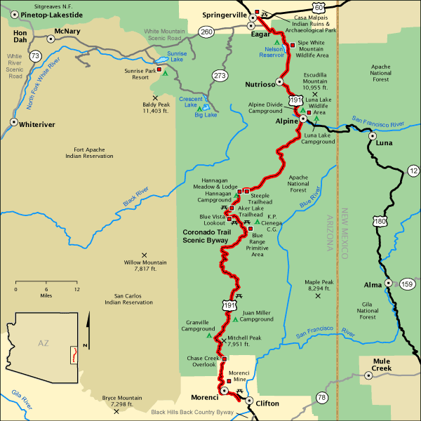 ARIZONA'S CORONADO SCENIC BYWAY RUNS NORTH/SOUTH. MAP THANKS TO US Dept of Transportation FED. HIGHWAY ADMIN.