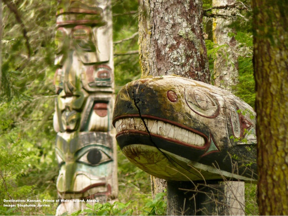 ANCIENT CULTURE RUNS DEEP on PRINCE OF WALES ISLAND WHERE THE TLINGIT PEOPLE, FOLLOWED BY THE HAIDA PEOPLE HAVE MADE THEIR HOMES FOR THOUSANDS OF YEARS. THIS TOTEM CAN BE FOUND AT THE SACRED WHALE HOUSE AT KASSAN. IMAGE: MANY THANKS TO STEPHANIE JURRIES AND  EMERALD ISLAND PHOTOGRAPHY