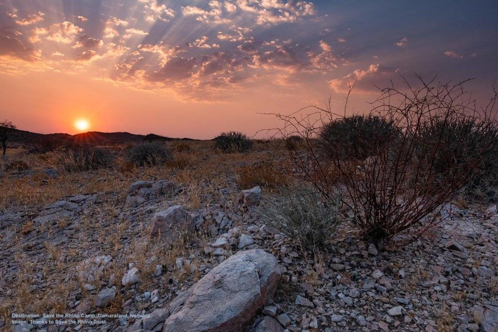 SUNSET OVER DAMARALAND AT THE DESERT RHINO CAMP IN THE PALMWAG CONCESSION, NAMIBIA. IMAGE: COURTESY  SAVE THE RHINO TRUST .