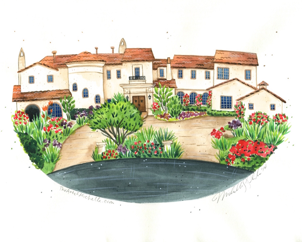 a Custom House Portrait, California house, The Art of Michelle, watercolor painting