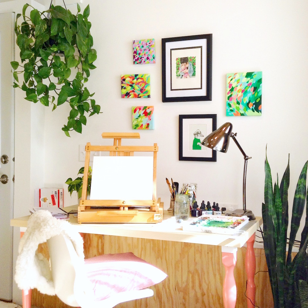 The Art of Michelle art studio, watercolor artist home studio