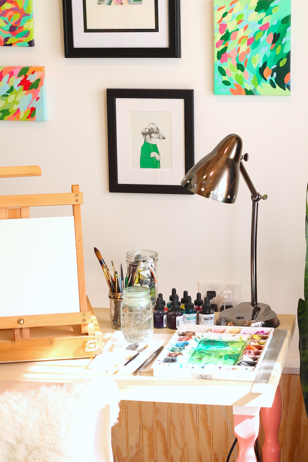 The Art of Michelle painting desk, custom pet portrait by CWDrawings