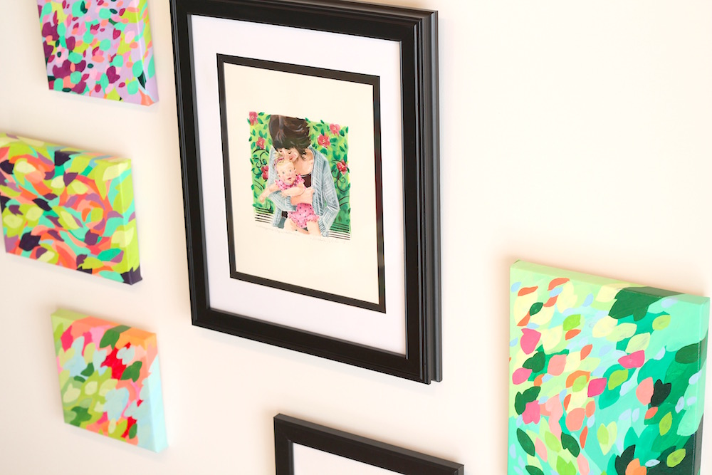 Custom Mother/Daughter Portrait, Modern Abstract Florals