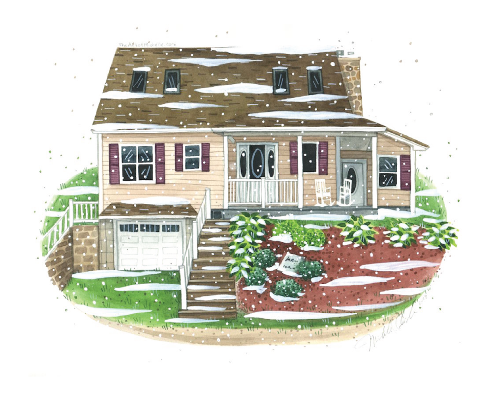 add snow to your cute Christmas winter House Portrait