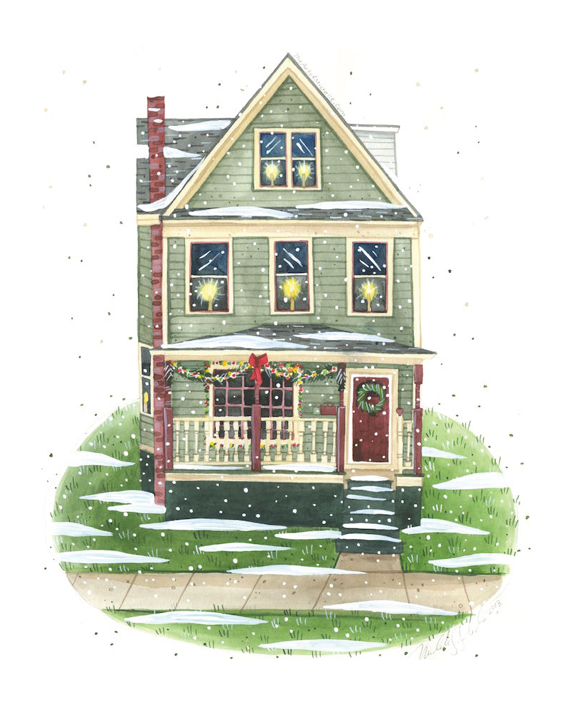 snow in a winter Custom House Portrait by Michelle Schneider