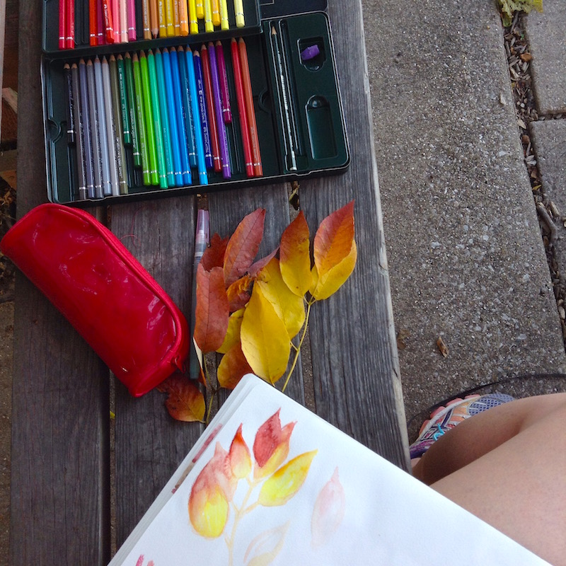 sketching pretty leaves at the park, The Art of Michelle
