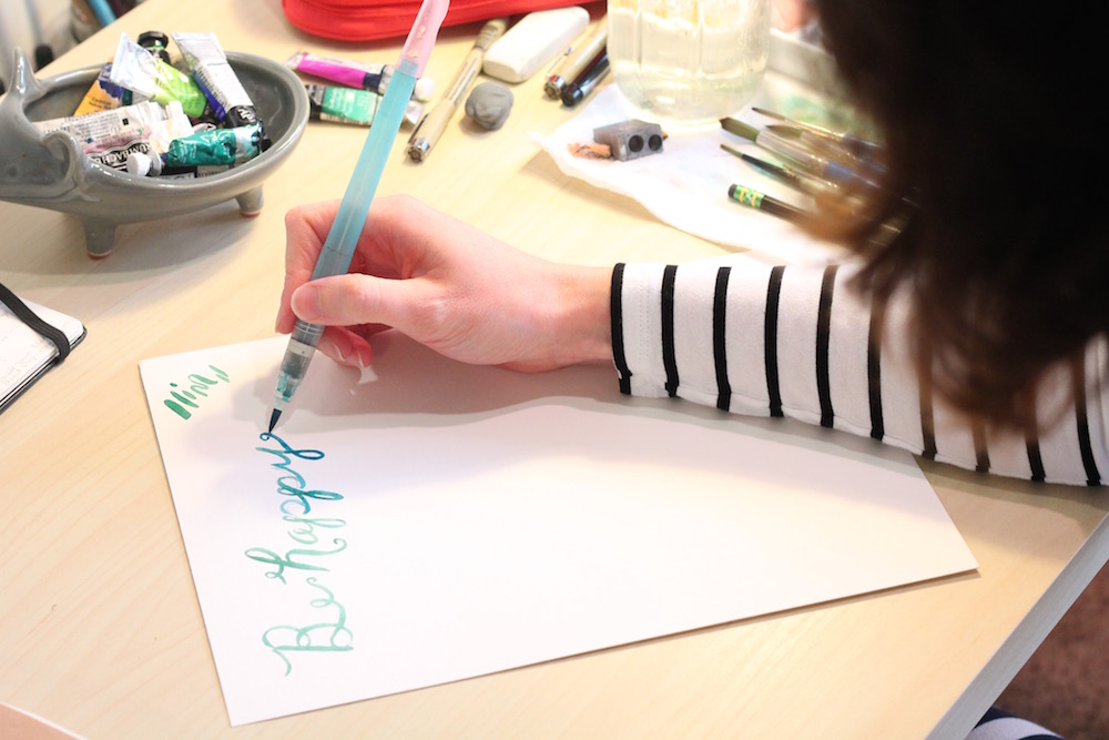 learn to paint with watercolors, brush lettering
