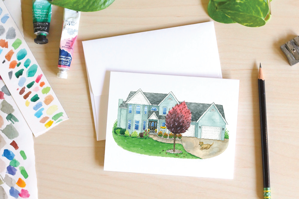 cute custom House Portrait notecards