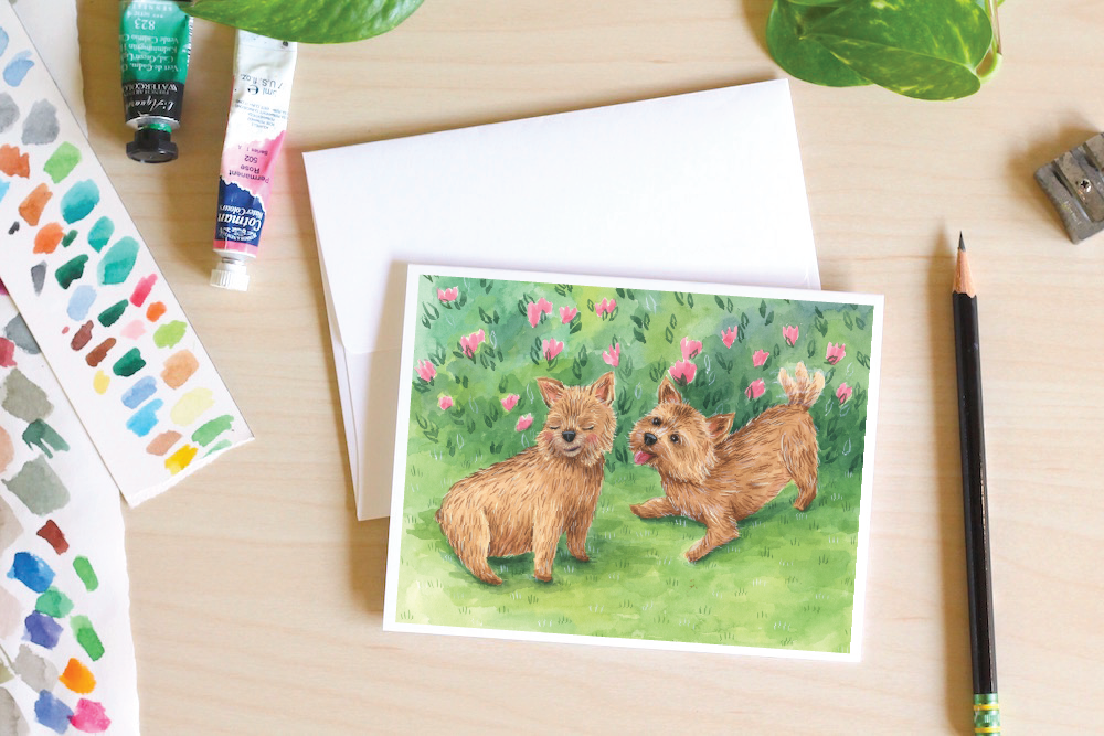 cute custom pet portrait notecards, pet painting, puppies