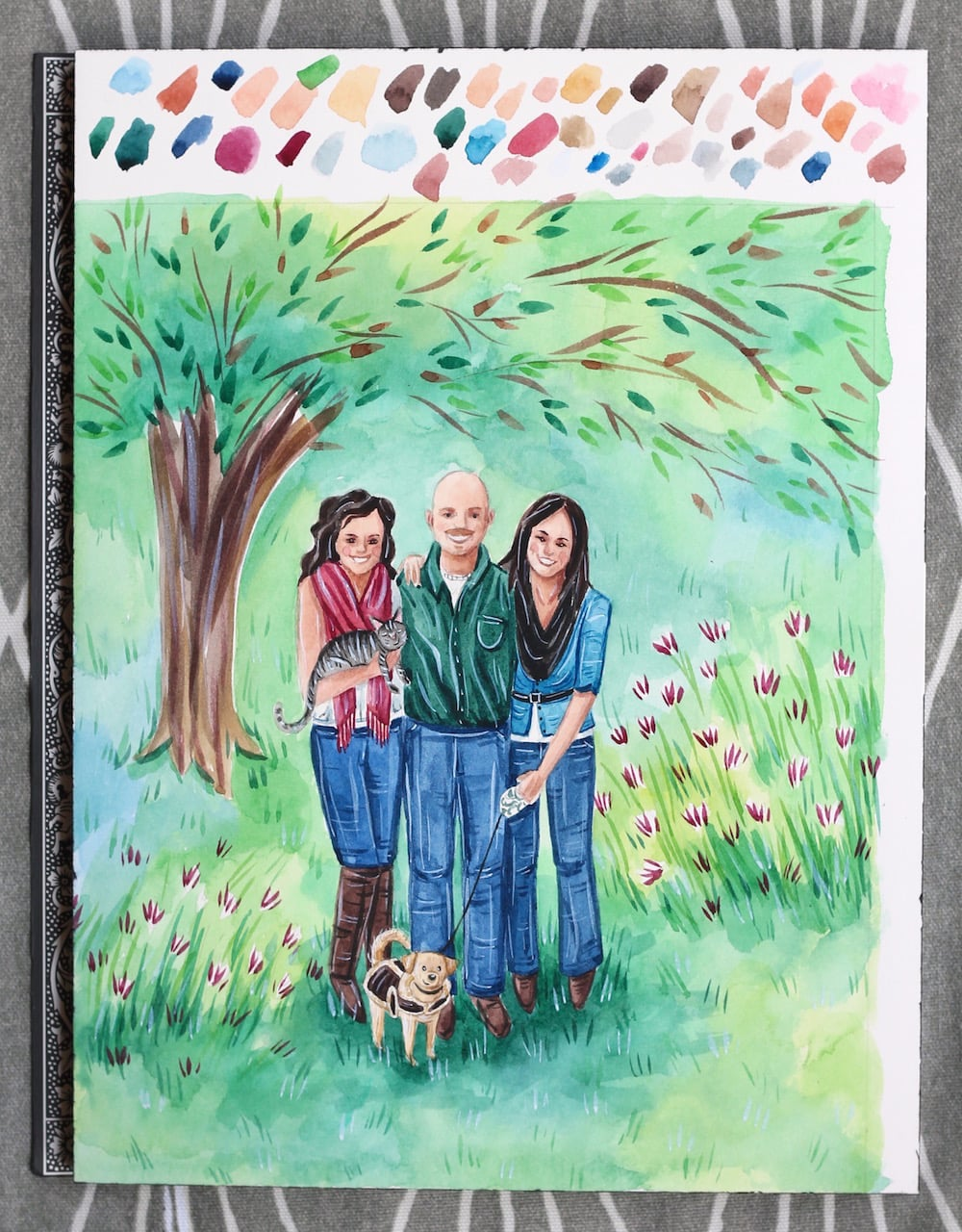 custom family portrait, custom watercolor painting, family picture