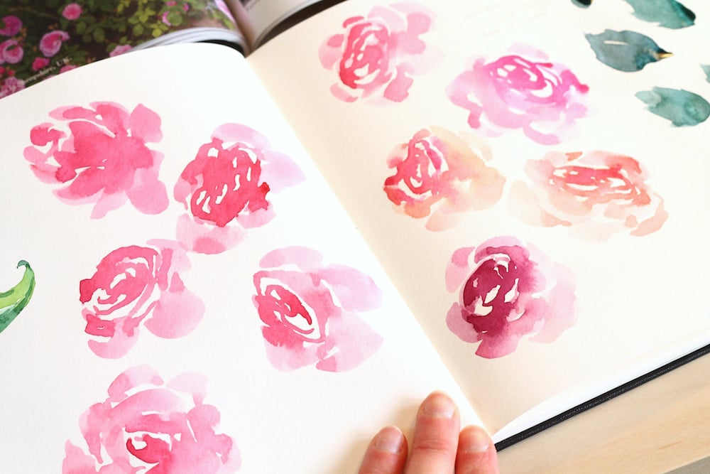 free watercolor tutorial, how to paint roses