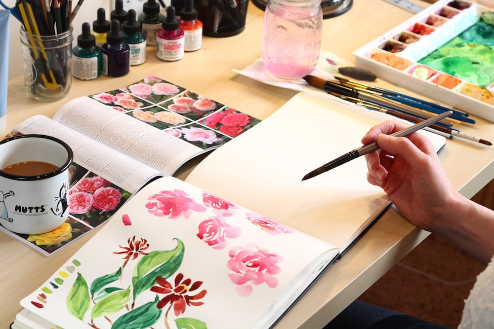 paint pink roses for valentine's day, watercolor tutorial