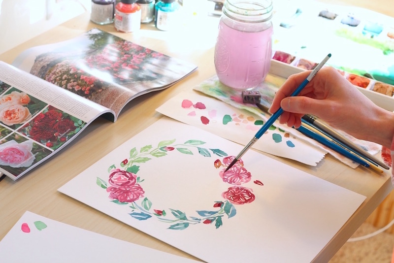 watercolor tutorial lesson eight floral wreaths custom portraits