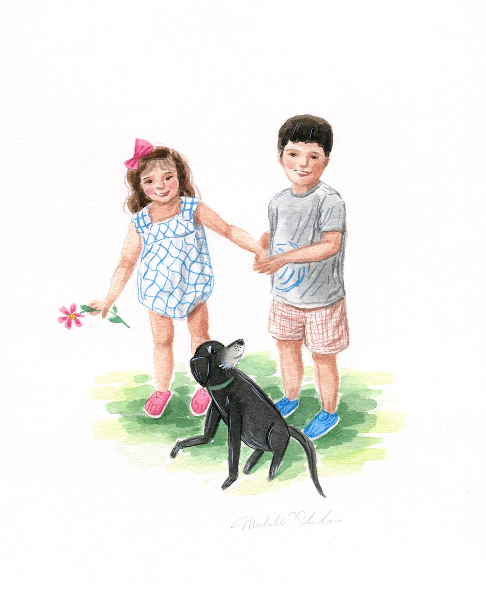 cute custom family portrait, children watercolor painting, custom portrait of kids