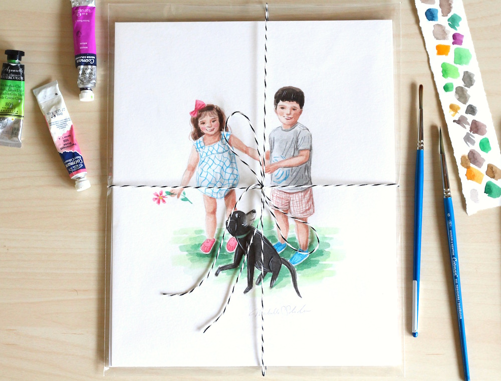 children's illustration, cute custom watercolor portrait, custom family portrait