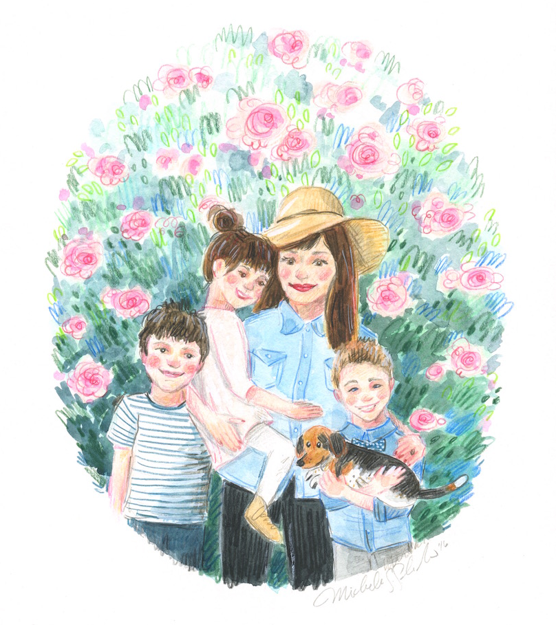 cute custom family portrait, watercolor portrait, custom gift idea, birthday gift