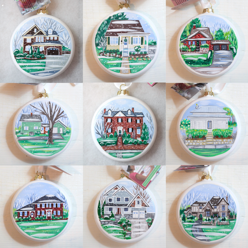 custom home portrait ornaments by michelle schneider