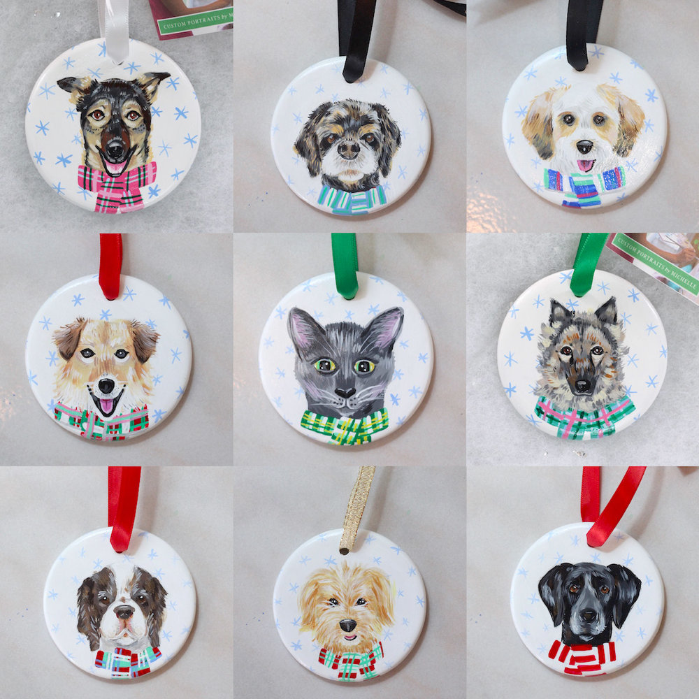custom pet portrait ornaments by michelle schneider