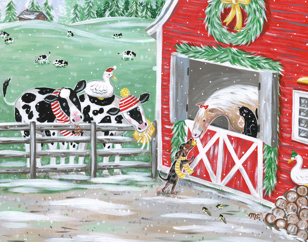 Miss Palamino was gifted a golden apple and gave Sarge a striped scarf in return. The twin cows, Betty and Elsie, gave Sarge a knitted sweater and pinecone ornament for his Christmas tree