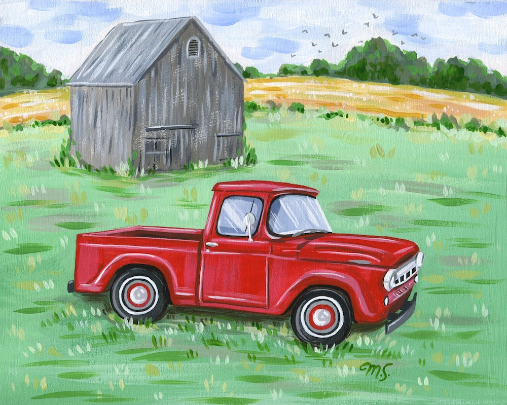 1957 Ford Truck painting, custom truck portrait, red Ford truck