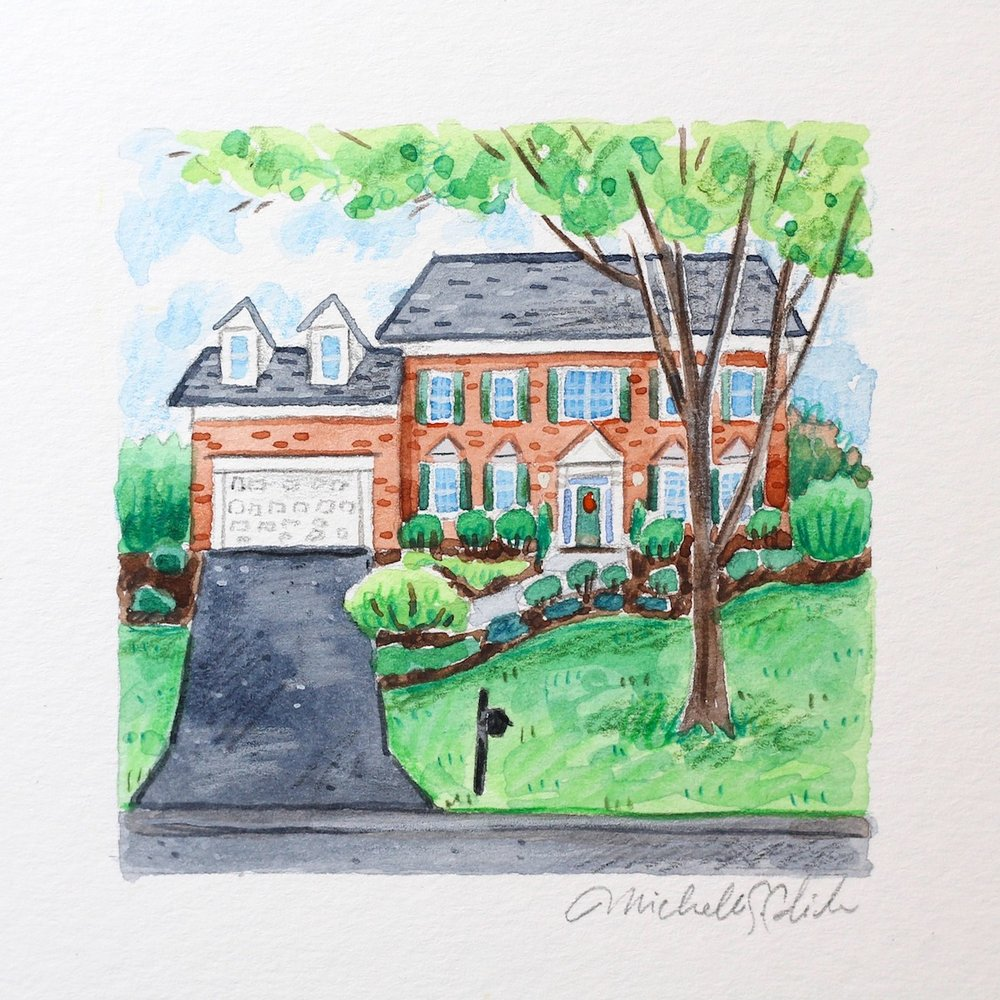 custom home portrait, anniversary gift idea, wedding gift idea