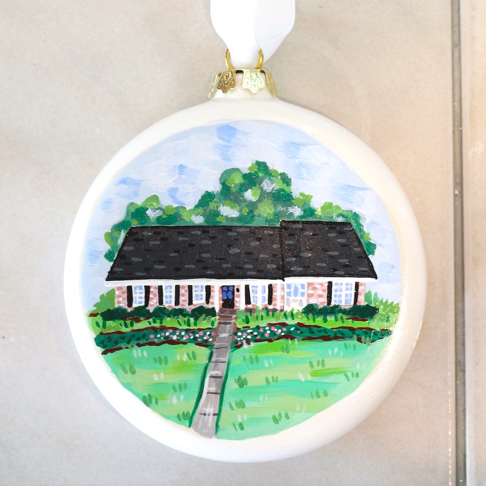 custom christmas ornament, custom home portrait, house painting