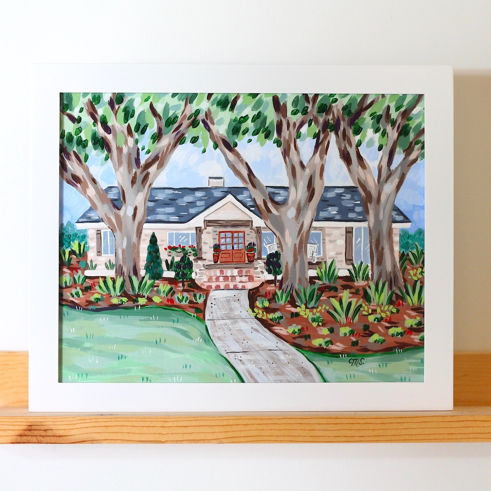 custom home portrait in acrylic, michelle schneider