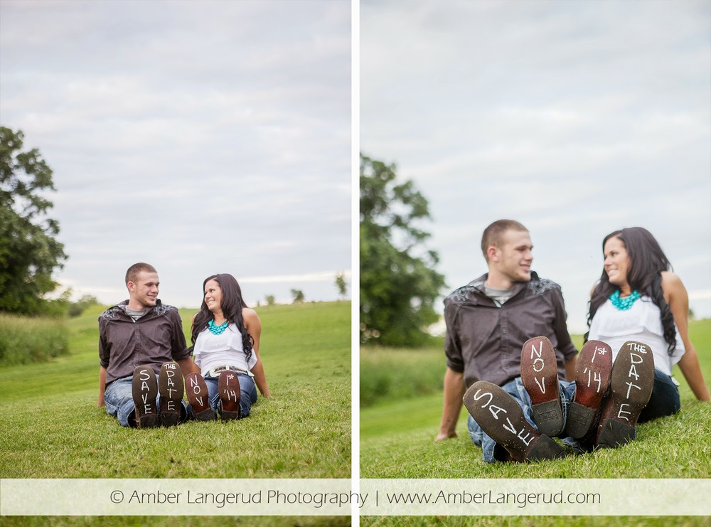 Outdoor Country Engagement Pictures | Detroit Lakes Area Photographer | Engagement Photos with Wedding Date on Boots