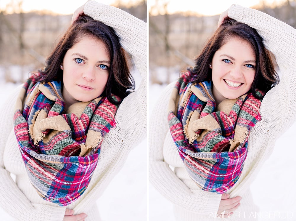 Audubon, MN Outdoor Winter Portraits | Blanket Scarf & Sweater