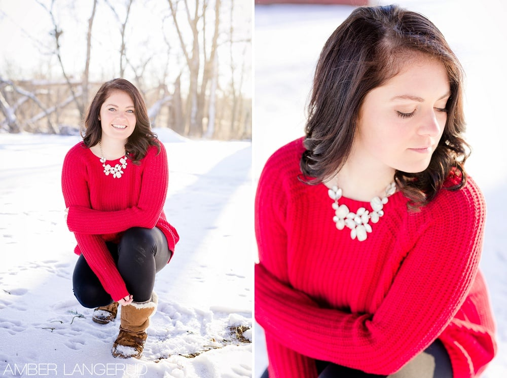 Audubon, MN Outdoor Winter Portraits | Red Sweater & Snow