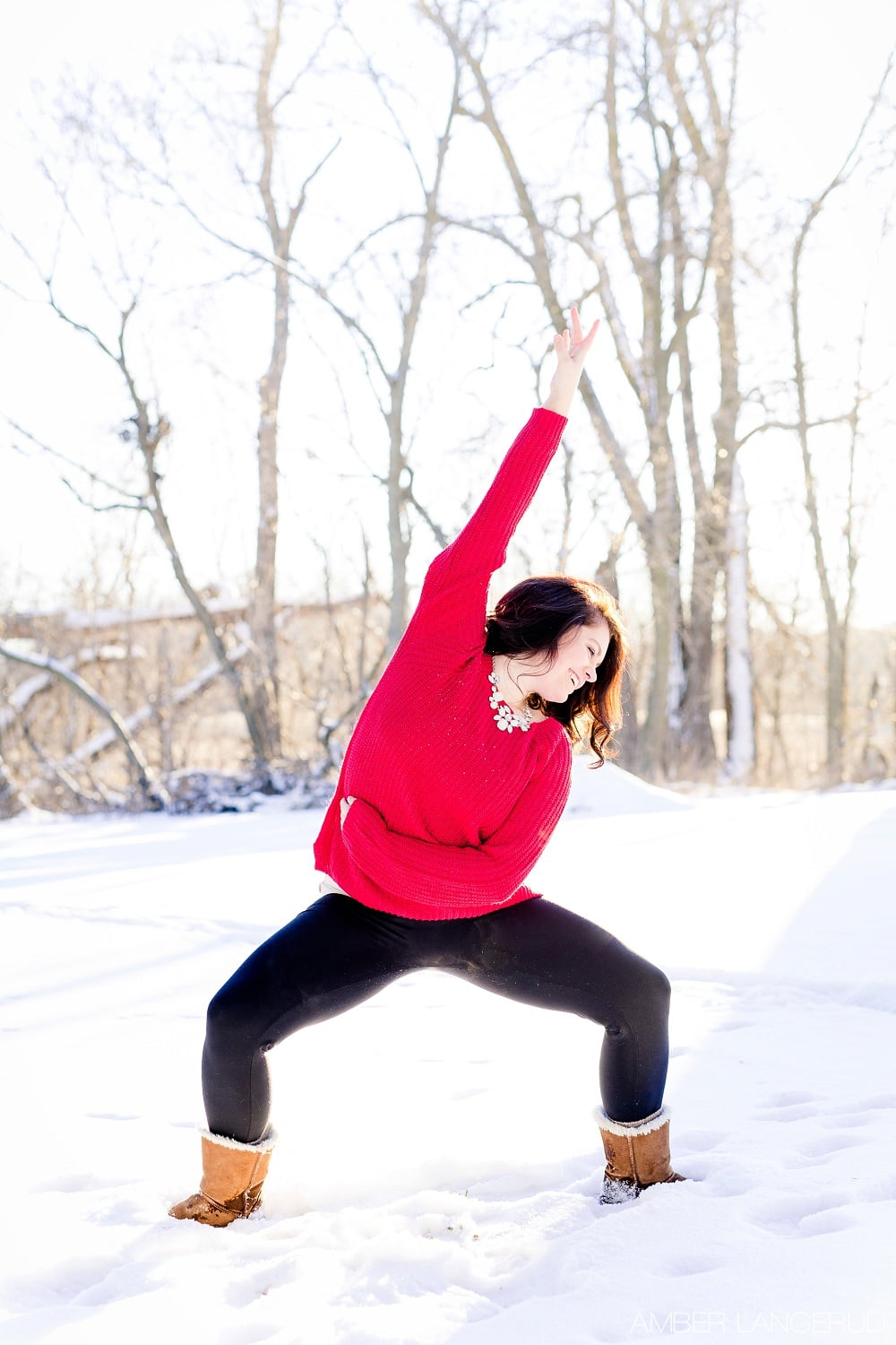 Audubon, MN Outdoor Winter Portraits | Red Sweater & Snow & Dance