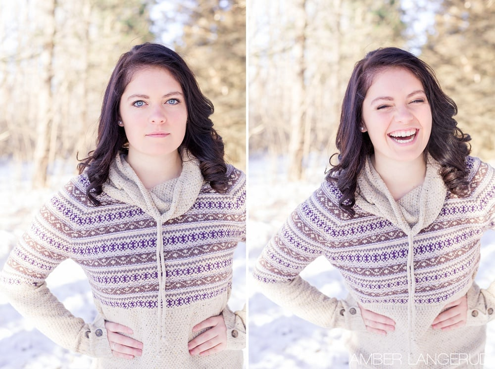 Audubon, MN Outdoor Winter Portraits | Winter Sweater & Pine Trees