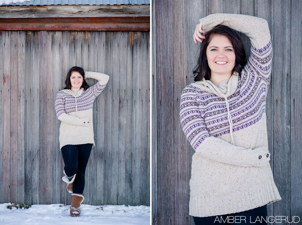 Audubon, MN Outdoor Winter Portraits | Winter Sweater & Rustic Building