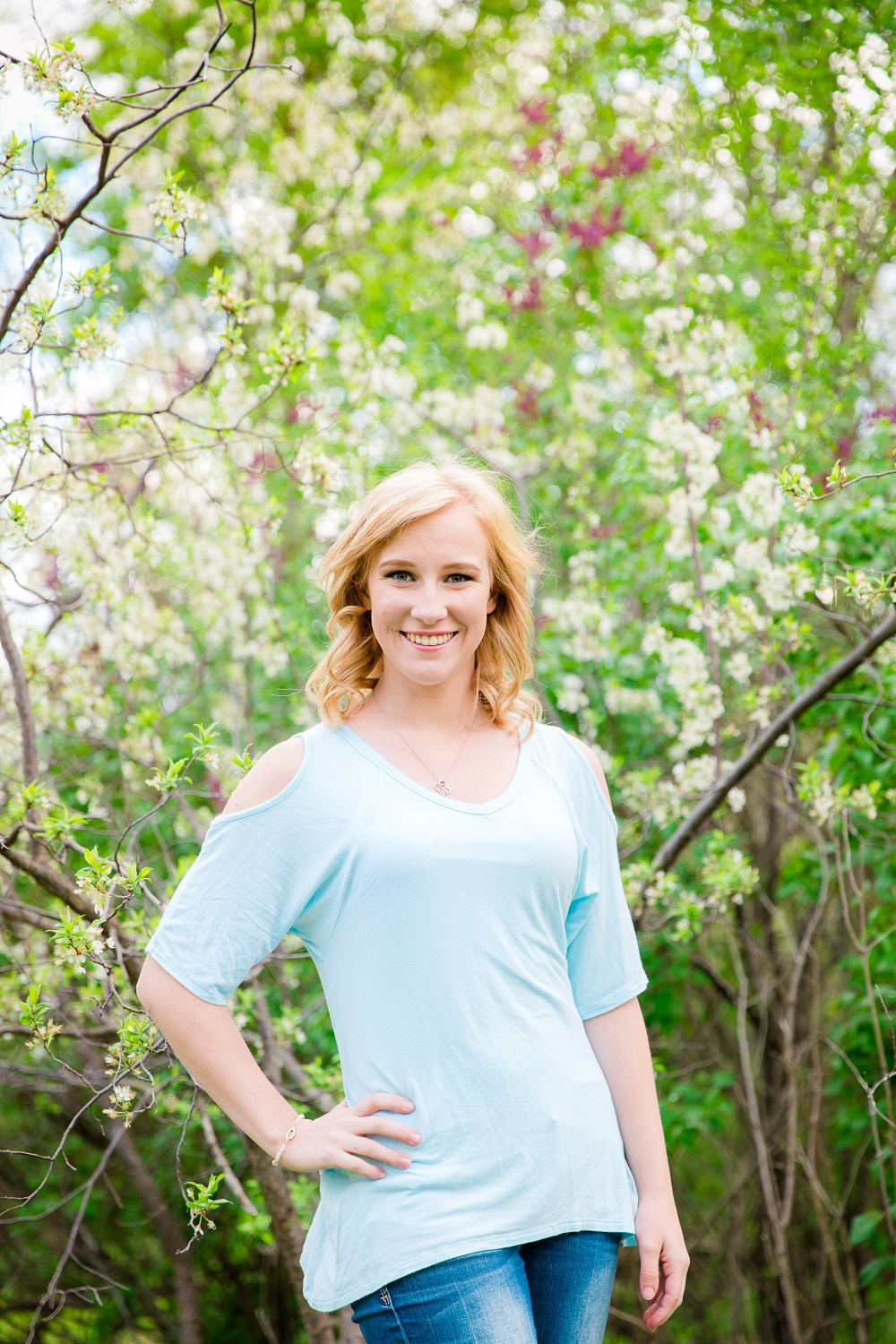 Outdoor, Country Styled, Spring Senior Session with Spring Blossoms | Amber Langerud Photography