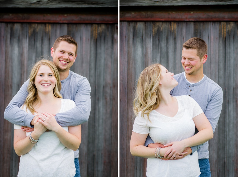 Couple standing in front of old barnwood | Outdoor, country styled engagement session near Audubon, MN | Amer Langerud Photography