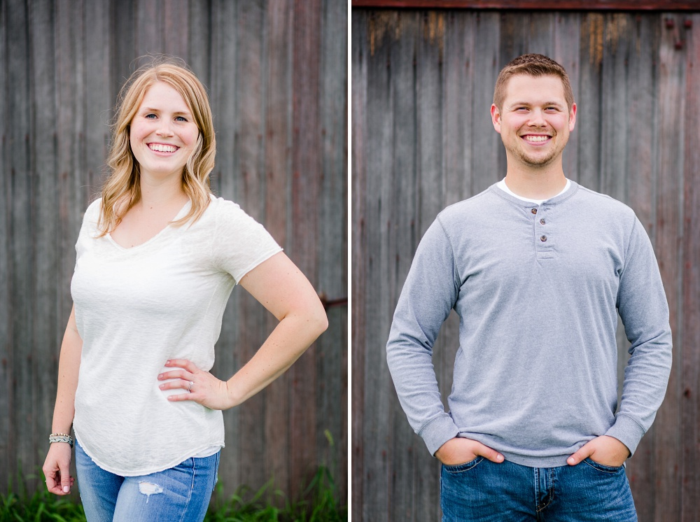 Individual portraits in front of old barnwood | Outdoor, country styled engagement session near Audubon, MN | Amer Langerud Photography
