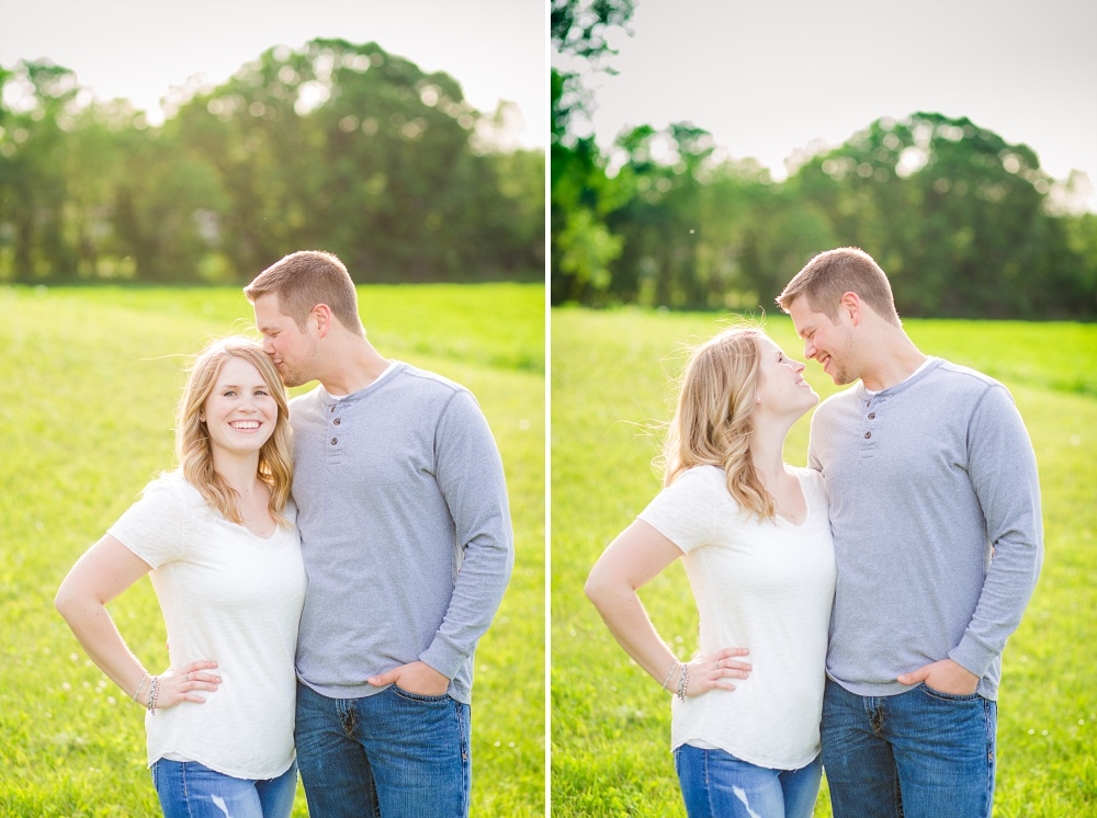 Couple on grass hill | Outdoor, country styled engagement session near Audubon, MN | Amer Langerud Photography