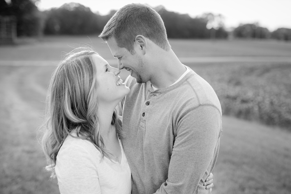 Coupling nuzzling noses, black & white | Outdoor, country styled engagement session near Audubon, MN | Amer Langerud Photography